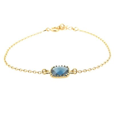 LILLY LILLY Armband | Square Crystal Gold | Blue | A10