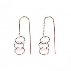 KARMA Jewelry KARMA Oorbellen | PULL THROUGH | OPEN TRIPLE CIRCLE | ROSE GOLD