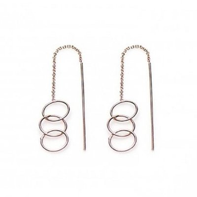 KARMA Jewelry KARMA Oorbellen | PULL THROUGH | OPEN TRIPLE CIRCLE | ROSE GOLD | M1841