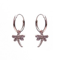 KARMA Jewelry KARMA CREOLEN | HOOPS DRAGONFLY | ZILVER | ROSE