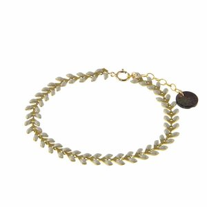 BLINCKSTAR BLINCKSTAR Armband | Goldfilled | Visgraat | Grijs