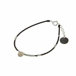 BLINCKSTAR BLINCKSTAR Armband | Sterling Zilver | Labradoriet | Zwart | Grijs