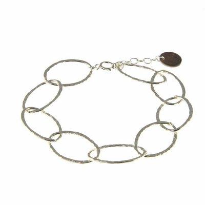 BLINCKSTAR BLINCKSTAR Armband | Sterling Zilver | XL Schakel | Gehamerd | 1802A67
