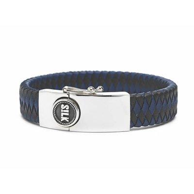 SILK Jewellery SILK Armband | 811BBU Armband Leather | Zilver | Leer | Zwart Blauw