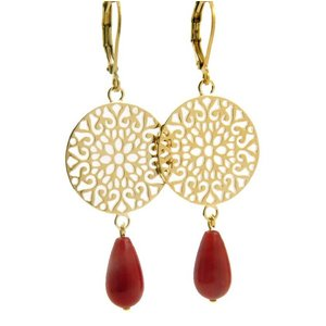 LILLY LILLY Oorbellen | Filli Large Gold | Red | 14 Karaats