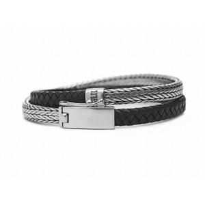 SILK Jewellery SILK Armband | 344BLK Armband Shiva | Zilver | Leer | Zwart | 22 cm