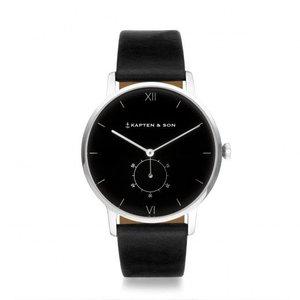 KAPTEN & SON KAPTEN & SON Horloge | HERITAGE | SILVER ALL BLACK