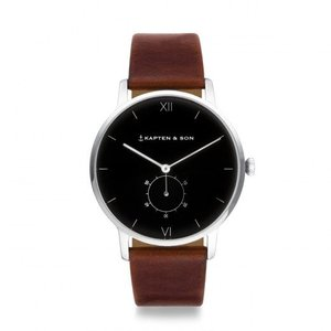 KAPTEN & SON KAPTEN & SON Horloge | HERITAGE | SILVER BLACK BROWN LEATHER