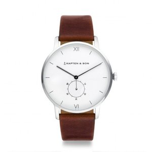 KAPTEN & SON KAPTEN & SON Horloge | HERITAGE | SILVER BROWN LEATHER