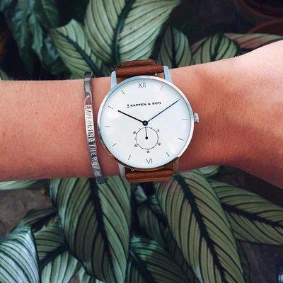 KAPTEN & SON KAPTEN & SON Horloge | HERITAGE | SILVER BROWN LEATHER