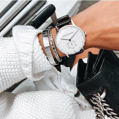 KAPTEN & SON KAPTEN & SON Horloge | HERITAGE | SILVER BLACK LEATHER
