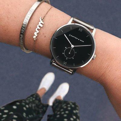 KAPTEN & SON KAPTEN & SON Horloge | HERITAGE | SILVER BLACK MESH