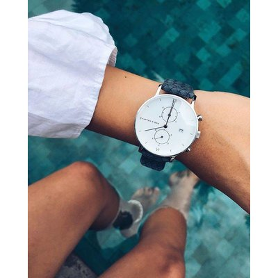 KAPTEN & SON KAPTEN & SON Horloge | CHRONO | SILVER LIGHT BLUE WOVEN LEATHER