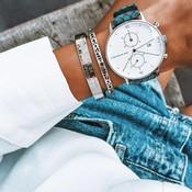 KAPTEN & SON KAPTEN & SON Horloge | CHRONO | SILVER LIGHT BLUE WOVEN LEATHER