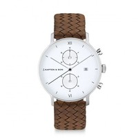 KAPTEN & SON KAPTEN & SON Horloge | CHRONO | SILVER BROWN WOVEN LEATHER