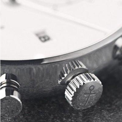KAPTEN & SON KAPTEN & SON Horloge | CHRONO | SILVER BROWN WOVEN LEATHER