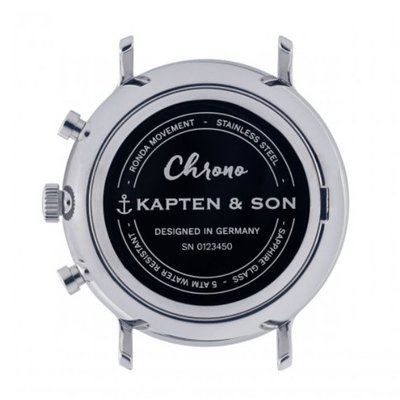 KAPTEN & SON KAPTEN & SON Horloge | CHRONO | SILVER BLACK WOVEN LEATHER