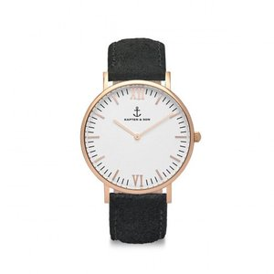 KAPTEN & SON KAPTEN & SON Horloge | CAMPUS | BLACK VINTAGE LEATHER
