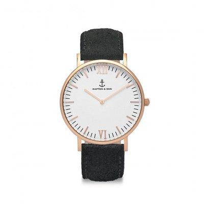 KAPTEN & SON KAPTEN & SON Horloge | CAMPUS | BLACK VINTAGE LEATHER