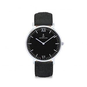KAPTEN & SON KAPTEN & SON Horloge | CAMPUS | ALL BLACK VINTAGE LEATHER