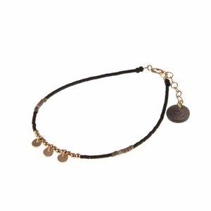 BLINCKSTAR BLINCKSTAR Armband | Rose Goldfilled | Muntjes | Taupe Zwart