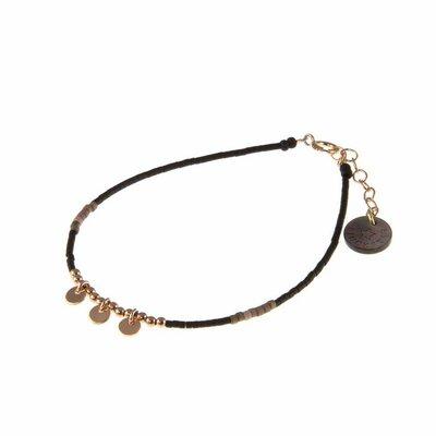 BLINCKSTAR BLINCKSTAR Armband | Rose Goldfilled | Muntjes | Taupe Zwart  | 1802A33
