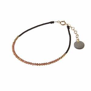 BLINCKSTAR BLINCKSTAR Armband | Rose Goldfilled | Rhodolite | Zwart