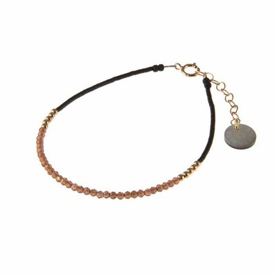BLINCKSTAR BLINCKSTAR Armband | Rose Goldfilled | Rhodolite | Zwart  | 1802A26