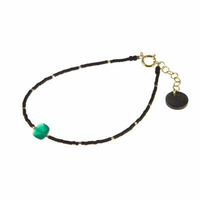 BLINCKSTAR BLINCKSTAR Armband | Goldfilled | Groen Onyx | Zwart | 1802A03