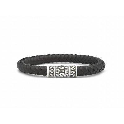 SILK Jewellery SILK Armband | 156 Armband Roots  | Zilver | Zwart Leer | FW18