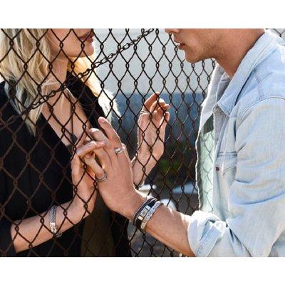 SILK Jewellery SILK Armband | 157BLK Armband Chevron  | Zilver | Zwart Leer