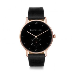 KAPTEN & SON KAPTEN & SON Horloge | HERITAGE | ALL BLACK | ROSE GOLD