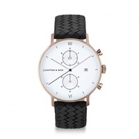 KAPTEN & SON KAPTEN & SON Horloge | CHRONO | ROSE GOLD | BLACK WOVEN LEATHER