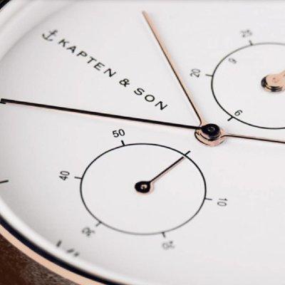 KAPTEN & SON KAPTEN & SON Horloge   CHRONO   ROSE GOLD   BLACK WOVEN LEATHER