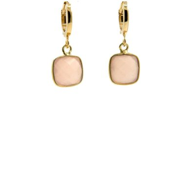 LILLY LILLY Oorbellen | Creole Basar Square Gold | Rose Quartz
