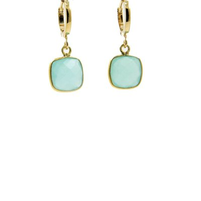 LILLY LILLY Oorbellen | Creole Basar Square Gold | Amazonite
