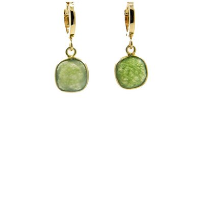 LILLY LILLY Oorbellen | Creole Basar Square Gold | Jade