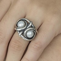 GATZ GATZ Ring | OWL | Zilver | Parel