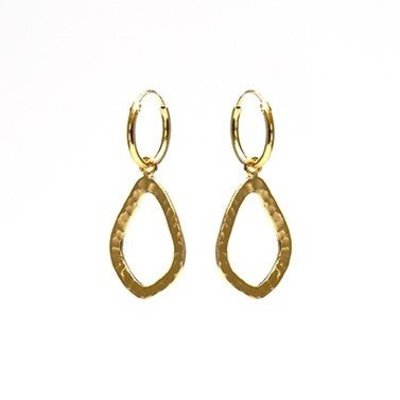KARMA Jewelry KARMA CREOLEN | OPEN OVAL HAMMERED  | GOLD | M2023