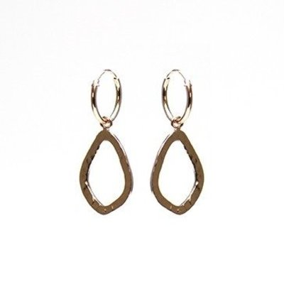 KARMA Jewelry KARMA CREOLEN | OPEN OVAL HAMMERED  | ROSE GOLD | M2022