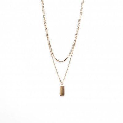 KARMA Jewelry KARMA Ketting | Dubbel | Tubes Rectangle | Rose Goud | T84-COL-RP