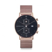 KAPTEN & SON KAPTEN & SON Horloge | CHRONO | ROSE GOLD | BLACK MESH