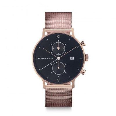 KAPTEN & SON KAPTEN & SON Horloge | CHRONO | ROSE GOLD | BLACK MESH