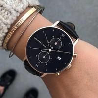 KAPTEN & SON KAPTEN & SON Horloge | CHRONO | ROSE GOLD | ALL BLACK WOVEN