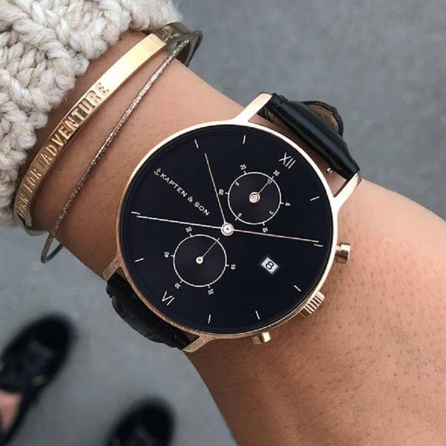 kapten son horloge chrono rose gold all black woven lovable things exclusieve sieraden. Black Bedroom Furniture Sets. Home Design Ideas