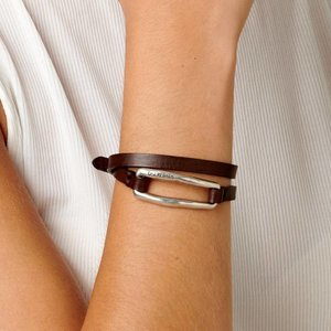 UNOde50 UNOde50 Armband   DOUBLE TRAPPED   ZILVER   LEER   FW18