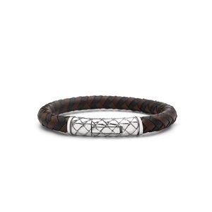 SILK Jewellery SILK Armband | 423BBR Armband Crossline | Zilver | Zwart Bruin Leer