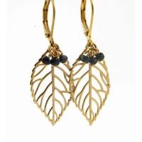 LILLY LILLY Oorbellen | Leaf Bunch Gold | Black Onyx | 14 Karaats