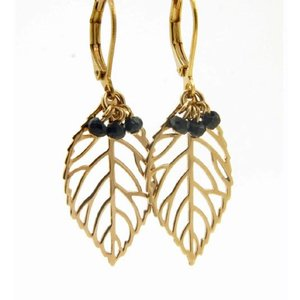 LILLY LILLY Oorbellen | Leaf Bunch Gold | Black Onyx | 14 Karaats