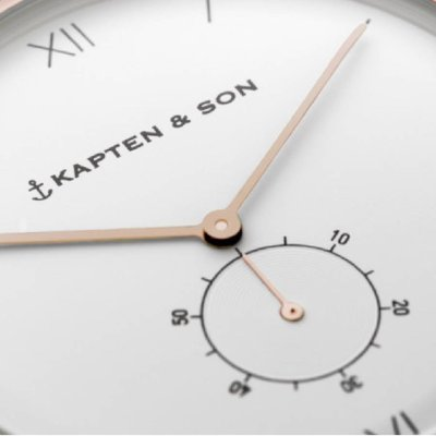 KAPTEN & SON KAPTEN & SON Horloge | HERITAGE | BLACK LEATHER | ROSE GOLD